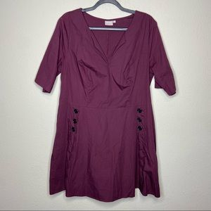 ESHAKTI Plum Purple Scallop Button Dress 2X 20W
